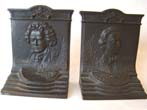 click to view detailed description of A pair of cast iron Beethoven and Chopin bookends made by Bradley & Hubbard circa 1920