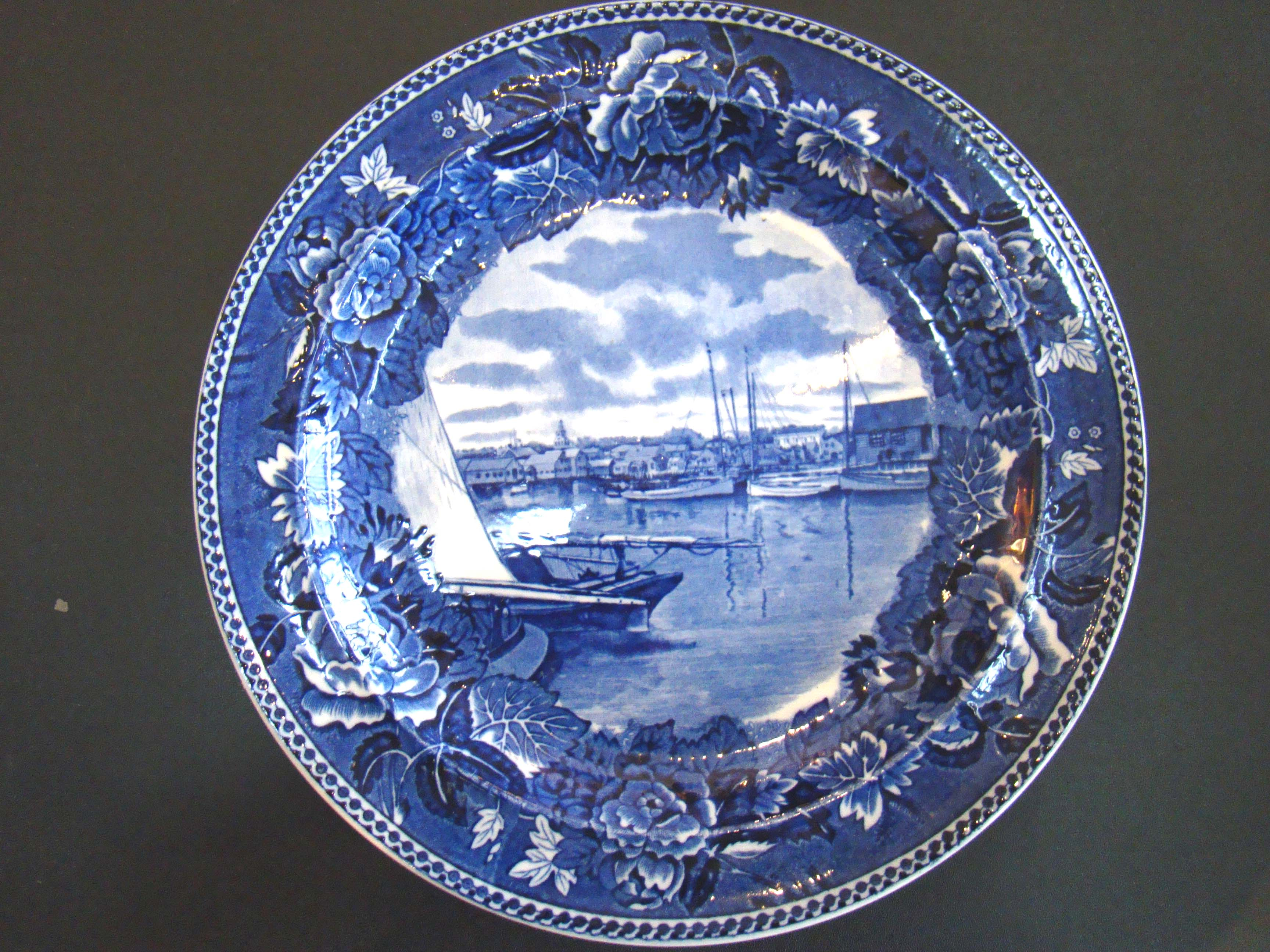 click to view detailed description of A fine souvenir 'Nantucket Harbor' plate made by Wedgwood in 1900.