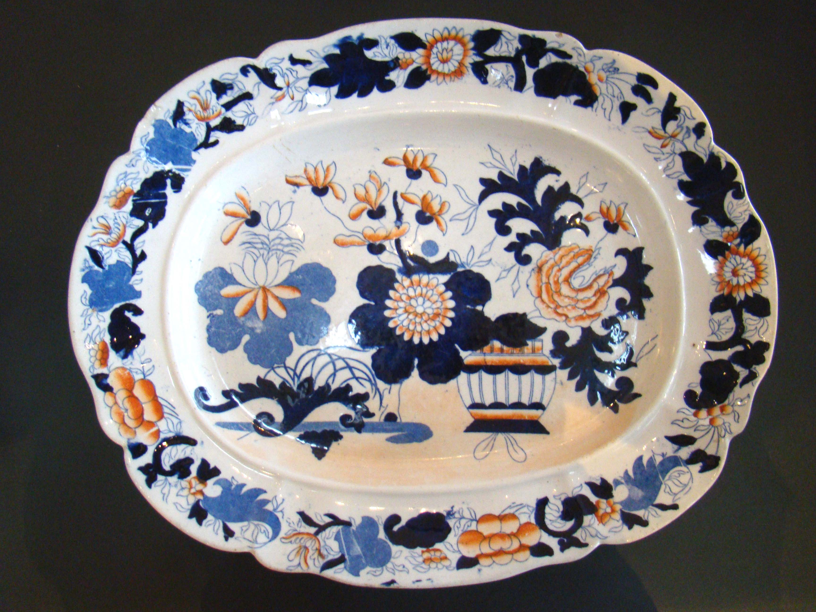 click to view detailed description of An early 19th century Mason's Stoneware serving Platter in the Japan Basket pattern circa 1820
