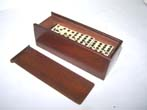 click to view detailed description of A Nice Set of 19th century Bone and Ebony Dominoes in its original mahogany box