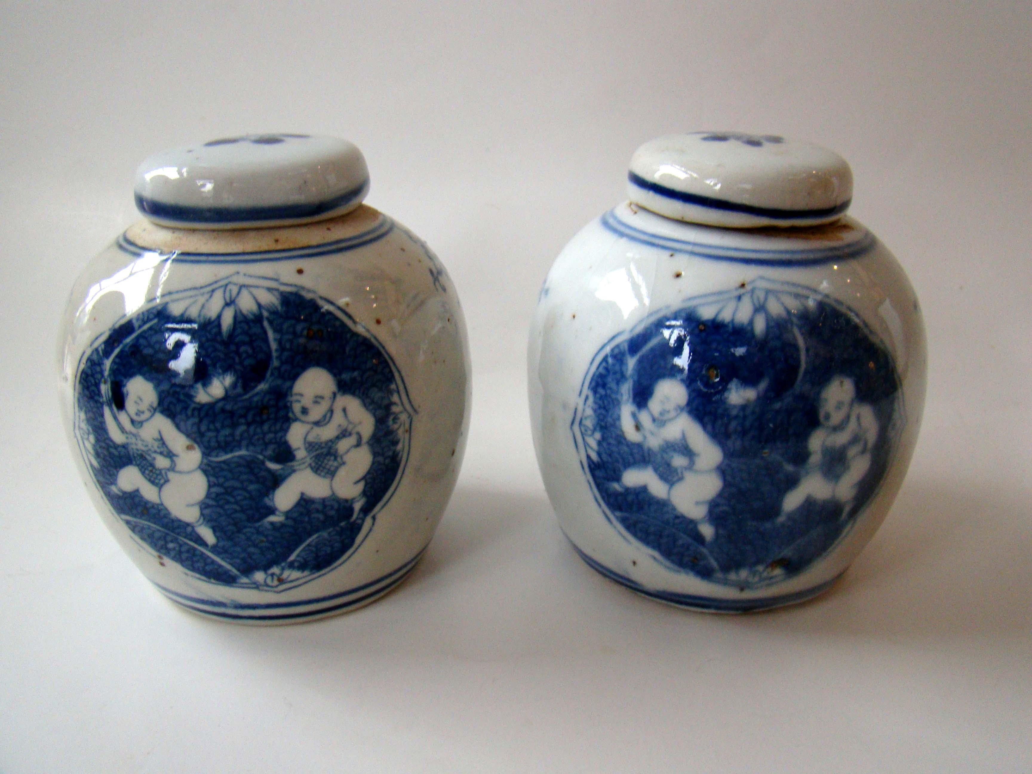 click to view detailed description of A charming pair of miniature Chinese ginger jars with children playing