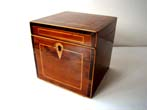click to view detailed description of An Irish fruitwood Tea Caddy box circa 1790