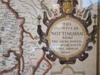 click to view detailed description of A beautiful hand colored Map of Nottingham by John Speed circa 1610