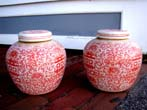 click to view detailed description of A fine pair of salmon colored Chinese Ginger Jars, 20th century