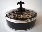 click to view detailed description of A stunning vintage silver overlay black glass candy dish circa 1910