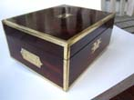 click to view detailed description of A fine early 19th century English brass bound rosewood dressing box circa 1810-1830
