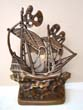 click to view detailed description of A wonderful single solid bronze 15th century Galleon bookend made in 1926