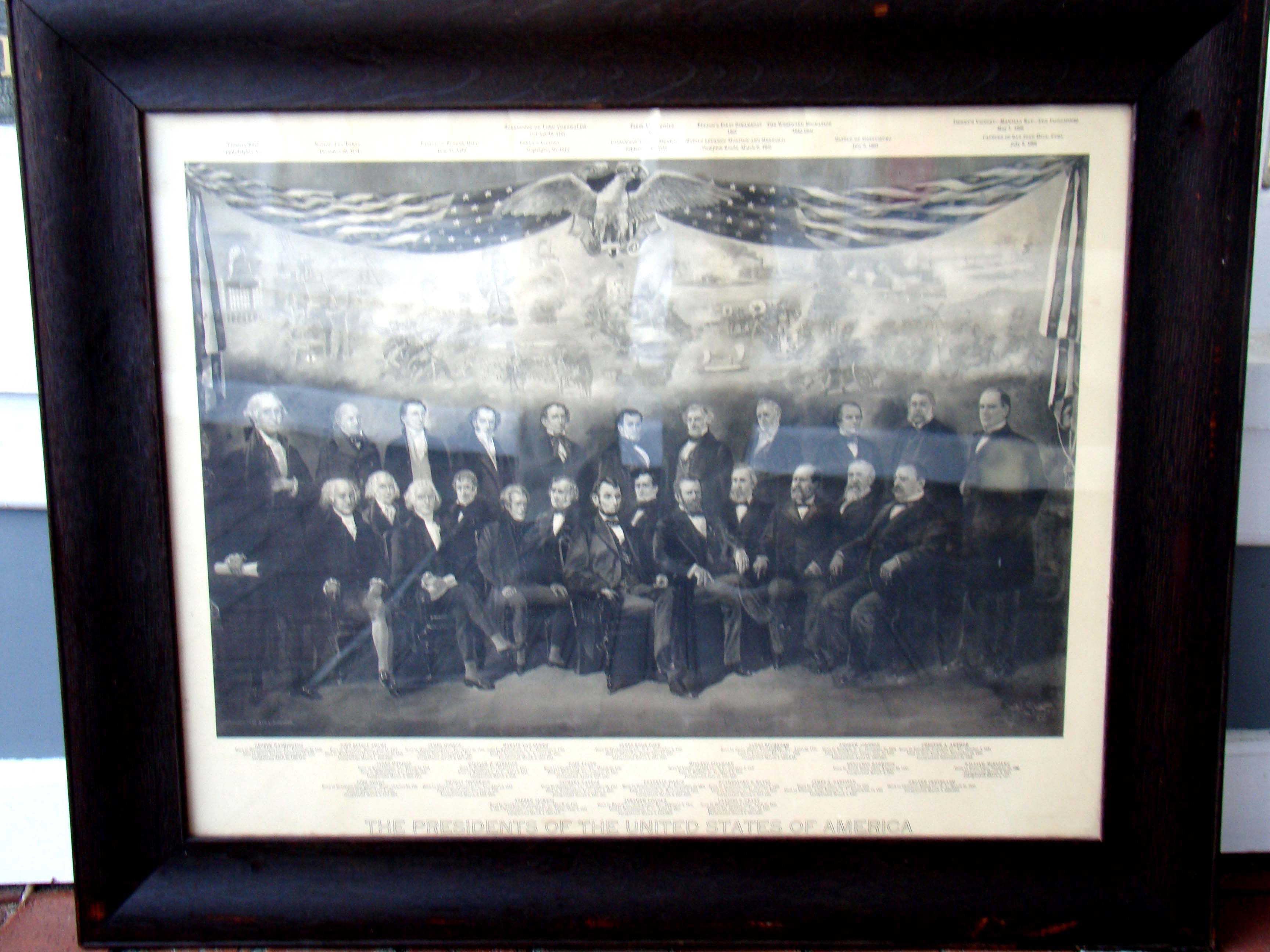 click to view detailed description of A patriotic lithograph featuring the Presidents of the United States printed in 1901
