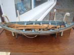 click to view detailed description of A very fine whaleboat model secured by davits to the hull of a whaling ship