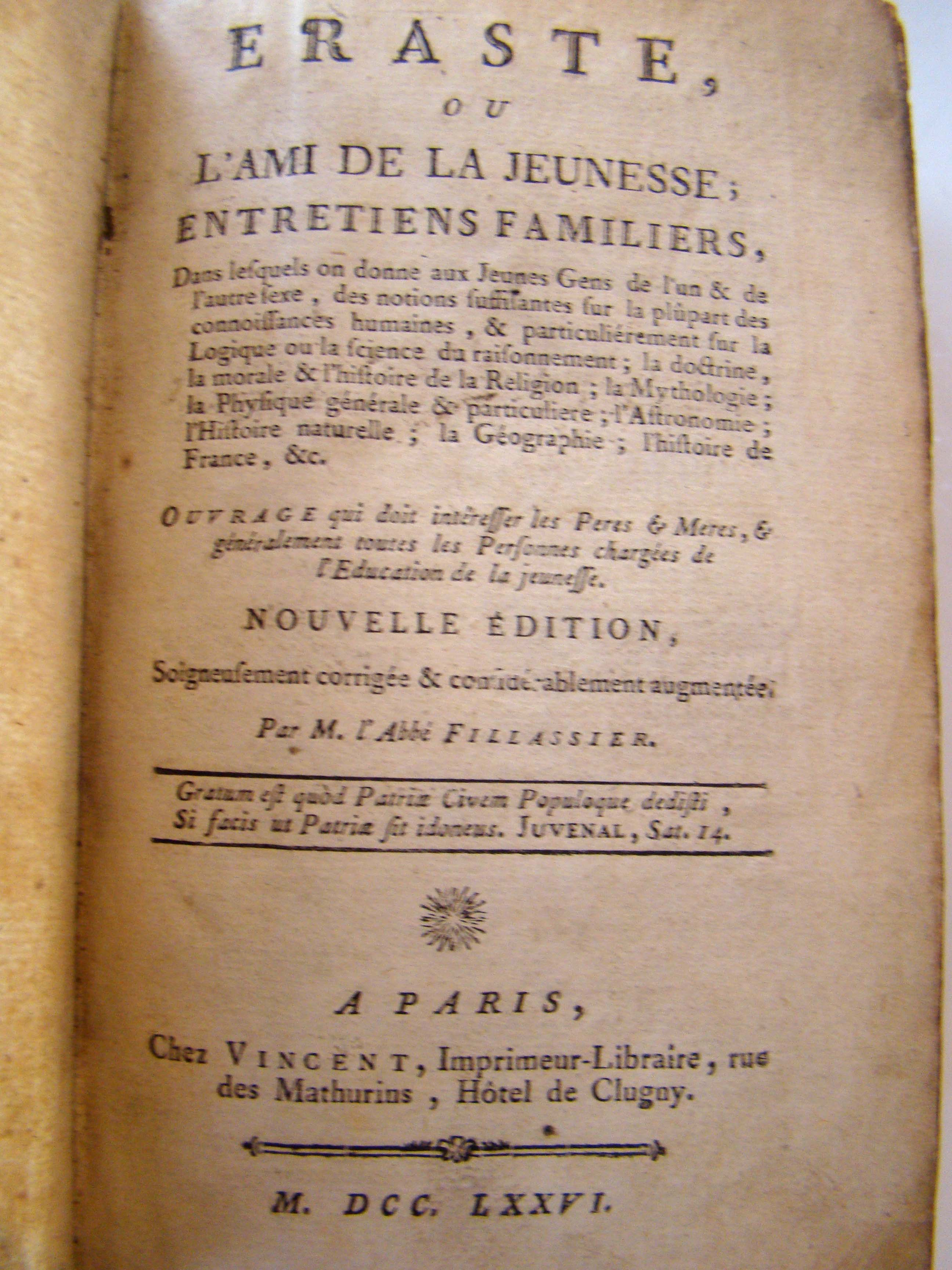 click to view detailed description of Eraste, ou l ami de la Jeunesse by M. Fillassier printed in Paris in 1776