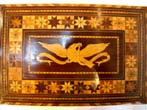 click to view detailed description of A stunning and patriotic 19th century sailor-made ladies writing or sewing box circa 1850