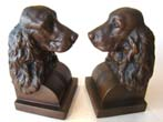 click to view detailed description of A fabulous pair of COCKER SPANIEL bookends by Jennings Brothers circa 1930