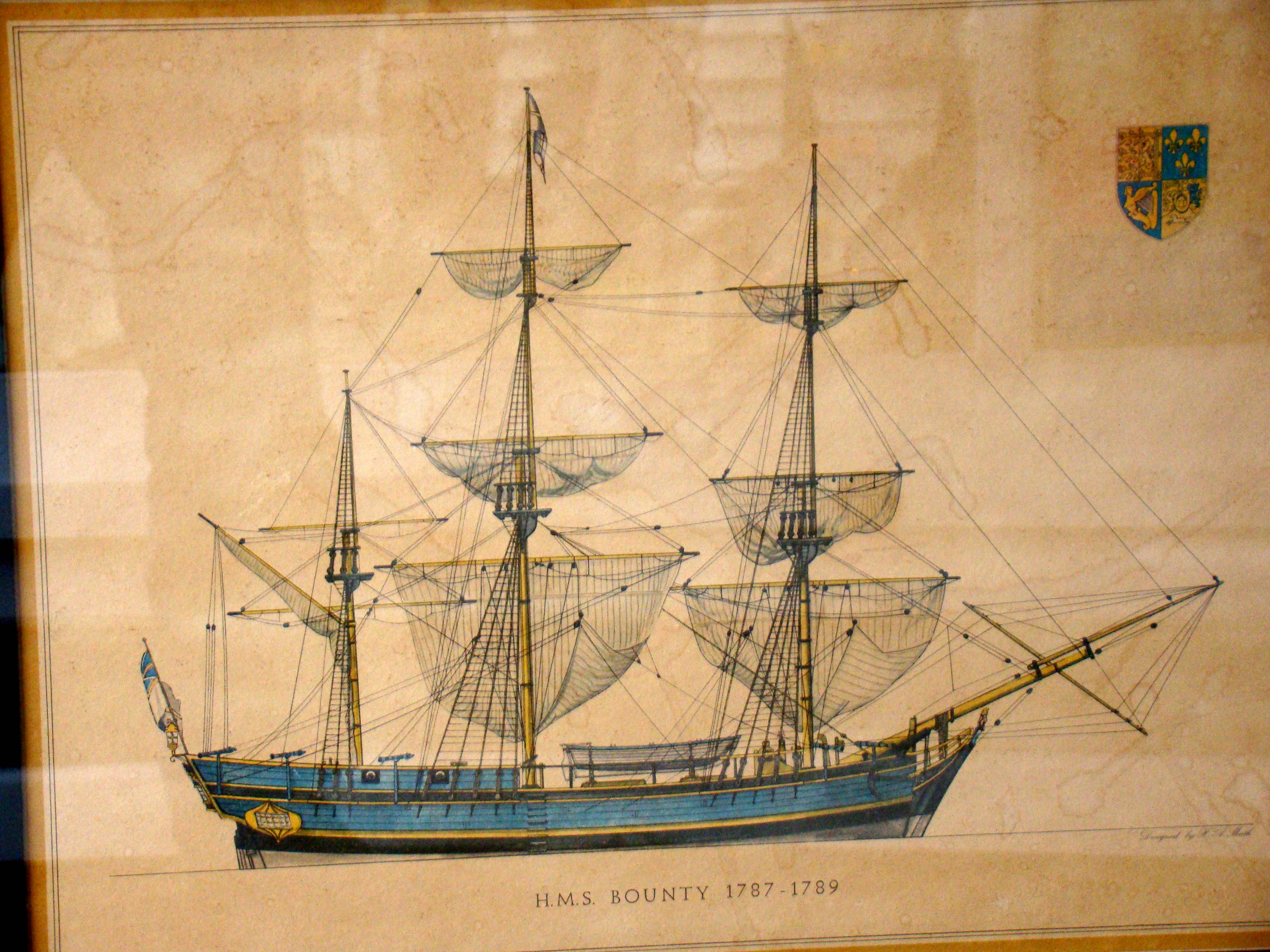 click to view detailed description of A framed lithograph of H M S Bounty (1787-1789) by H A Muth (1871-1931)