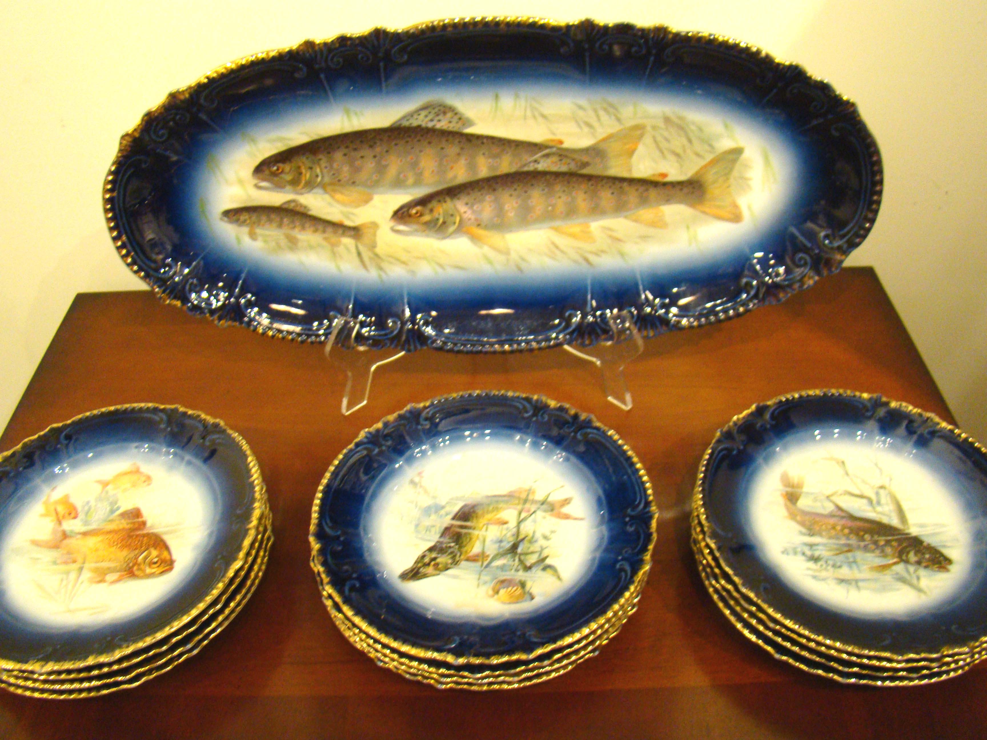 click to view detailed description of A spectacular and complete fish service for 12 made in Bavaria between 1890-1910