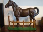 click to view detailed description of A fine vintage cast iron Race Horse door stop circa 1900