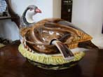 click to view detailed description of A beautiful vintage hand painted tureen in the form of a partridge