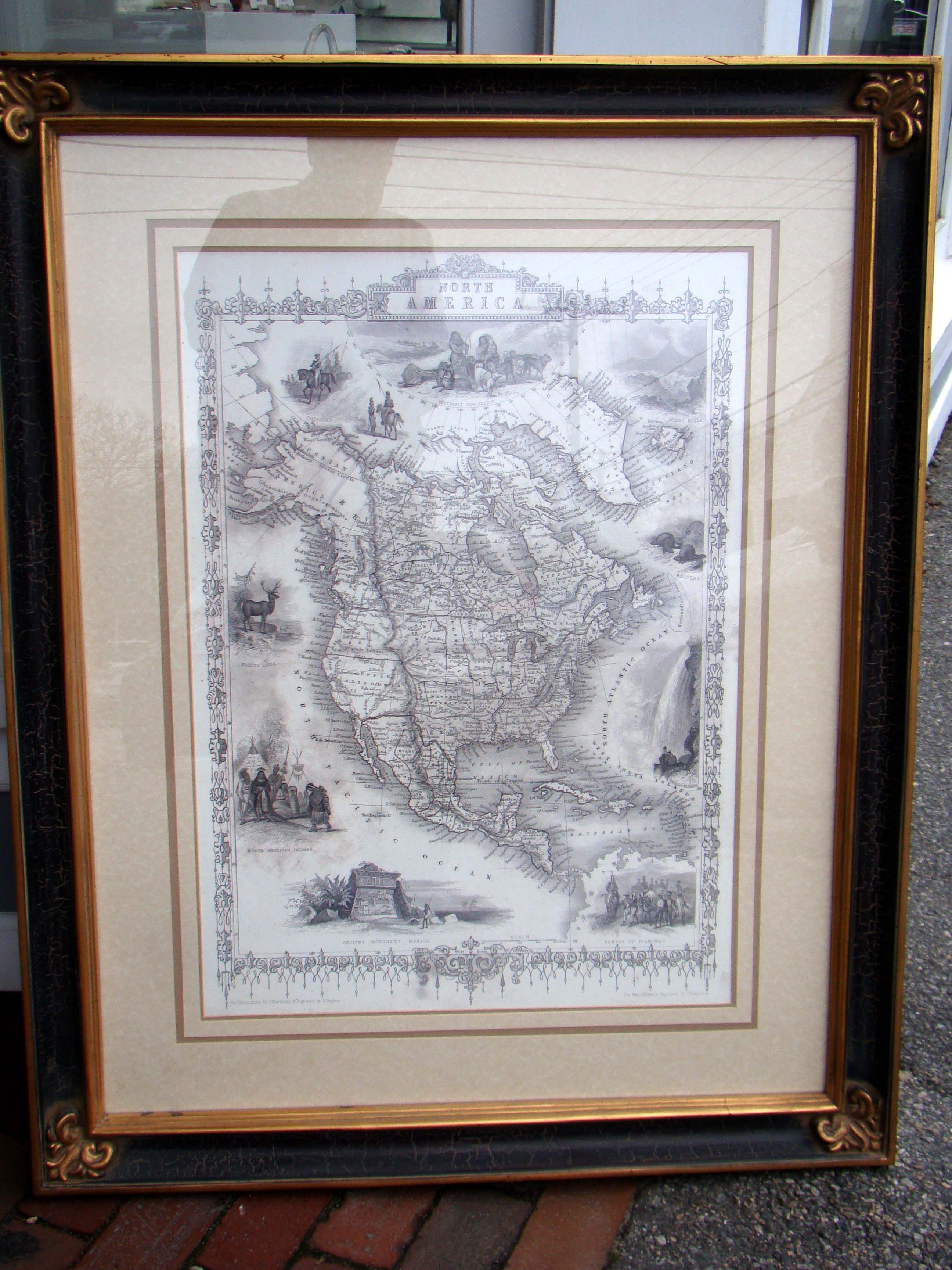 click to view detailed description of A fine reprint of the famous Map of North America drawn and engraved by John Rapkin in 1851