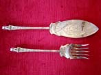 click to view detailed description of A FABULOUS maritime themed serving fork and fish slice with Poseidons head made in 1861
