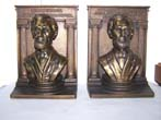 click to view detailed description of A Monumental Pair of Antique Bookends by Bradley & Hubbard circa 1925 depicting Abraham Lincoln