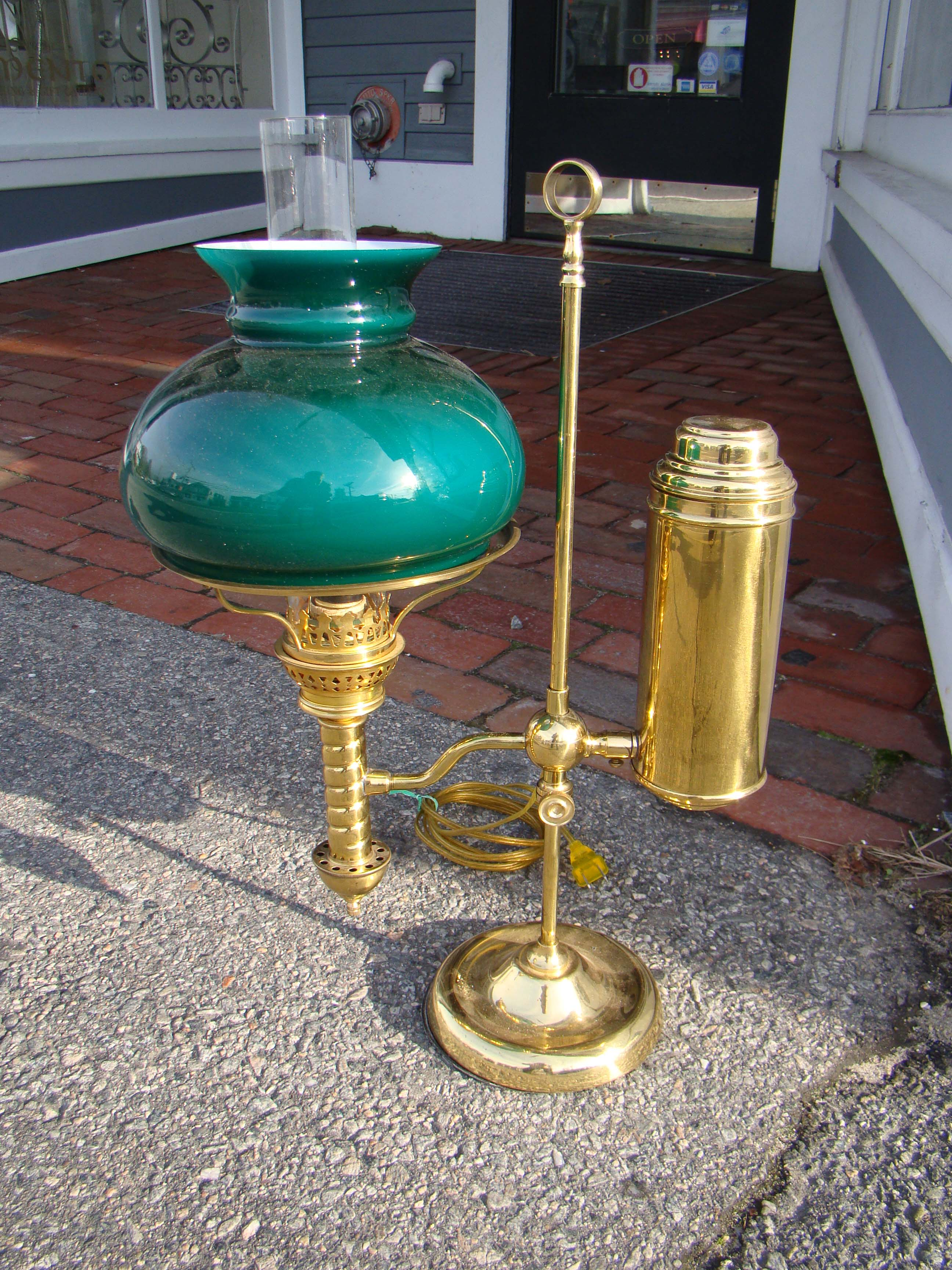 click to view detailed description of A fabulous 19th century student lamp circa 1880 now electrified