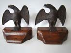 click to view detailed description of A fabulous pair of 19th century Federal eagle bookends