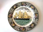 click to view detailed description of A fabulous 19th century serving plate by Adams Potteries of England depicting the Clipper Ship
