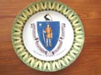 click to view detailed description of A fine and rare plate circa 1901-1914 depicting the Coat-of-arms for the State of Massachusetts