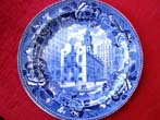 click to view detailed description of A fine Wegwood souvenir plate depicting The Old Statehouse, Boston, circa 1910