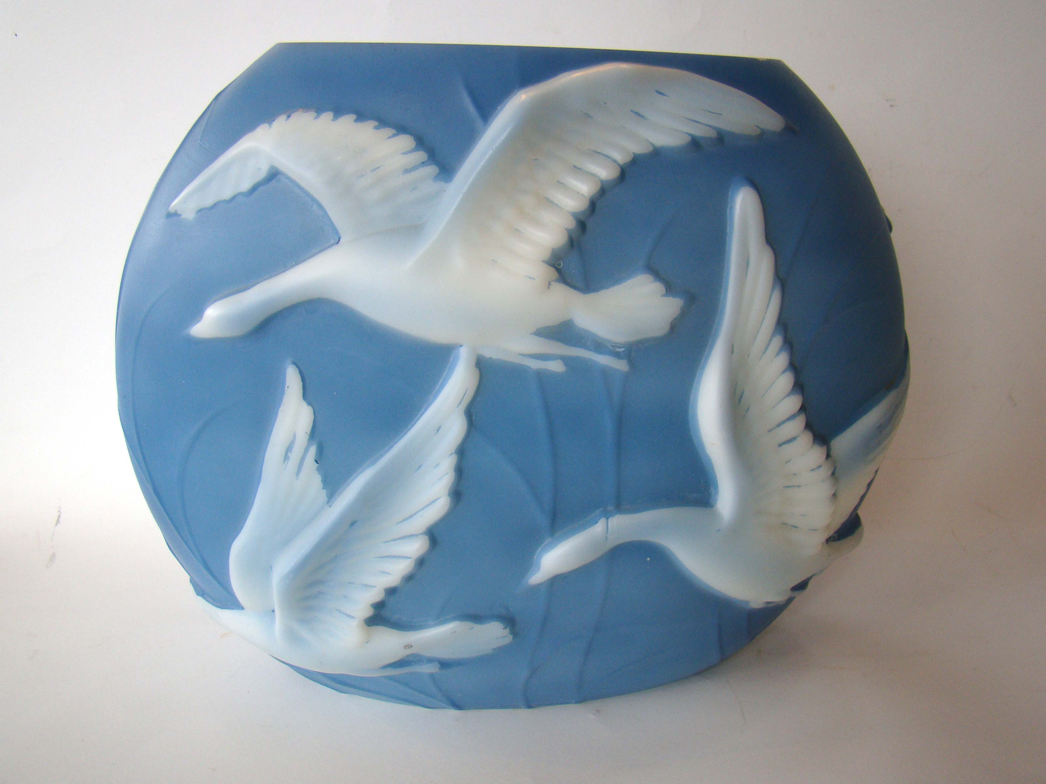 click to view detailed description of A Phoenix Art Glass Slate Blue Wild Geese Pattern pillow vase circa 1935-1940