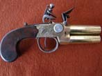 click to view detailed description of A fine British flintlock Naval Officers over and under barreled flintlock pistol circa 1800-1810