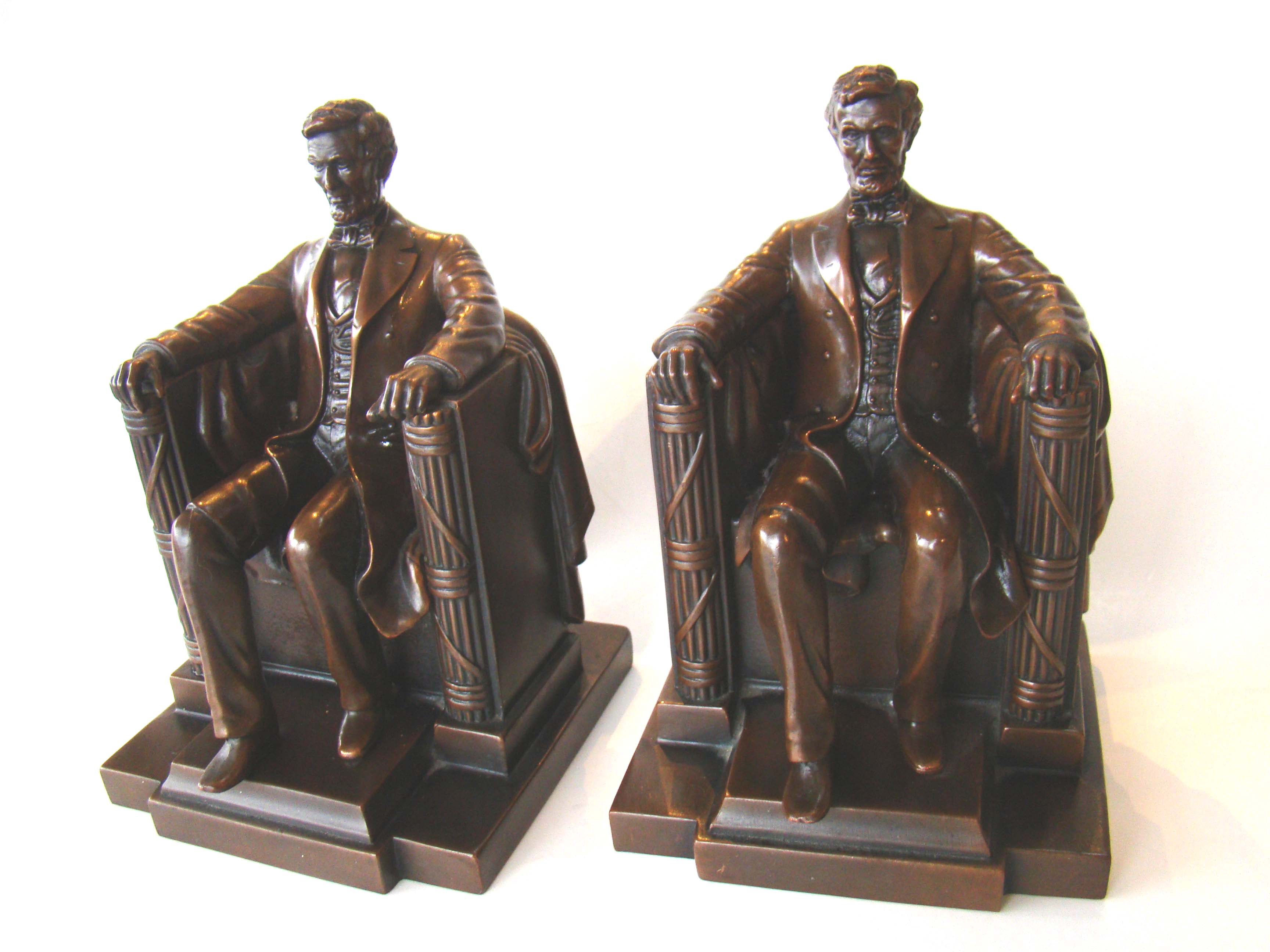 click to view detailed description of A fine pair of Lincoln bookends made by Jennings Brothers of Bridgeport, CT, circa 1925