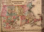 click to view detailed description of An original antique map of Massachusetts and Rhode Island with inset map of Boston published in 1856
