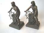 click to view detailed description of An early pair of Gloucester Fisherman memorial bookends made by Jennings Brothers circa 1930