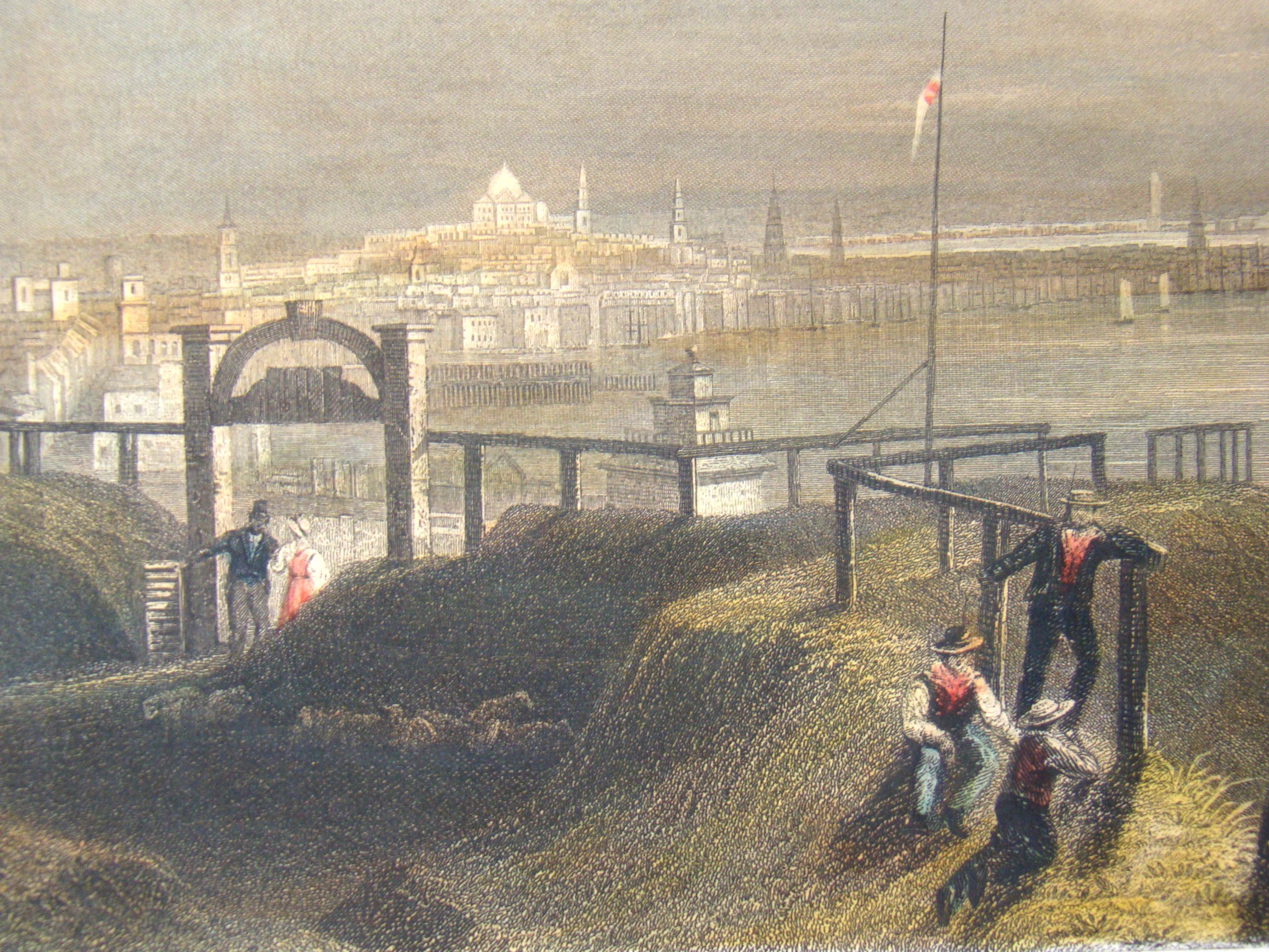 click to view detailed description of An original hand colored engraving of a view of 'Boston from Dorchester Heights' printed in 1850