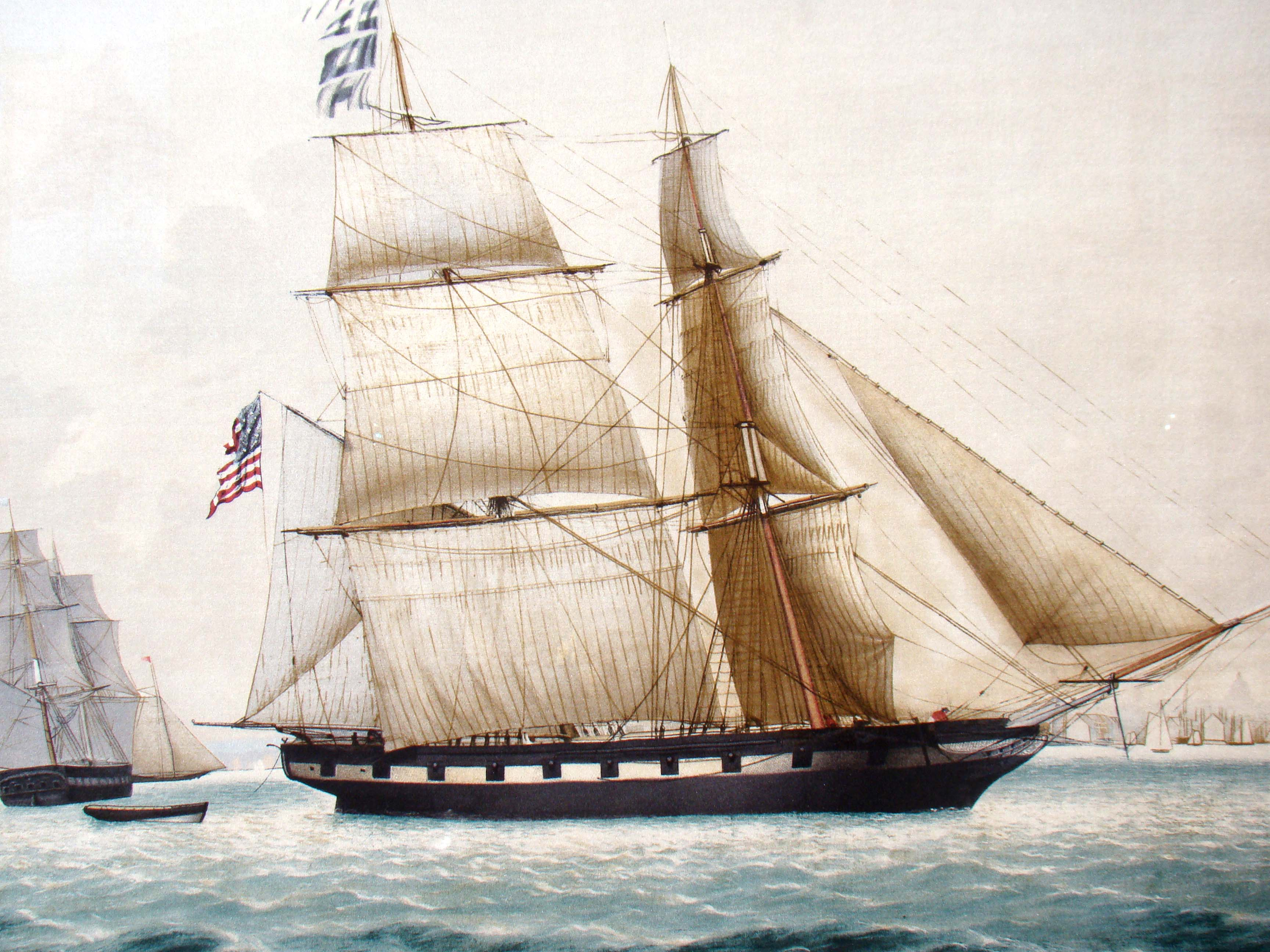 click to view detailed description of An attractive print of a ship in Boston harbor