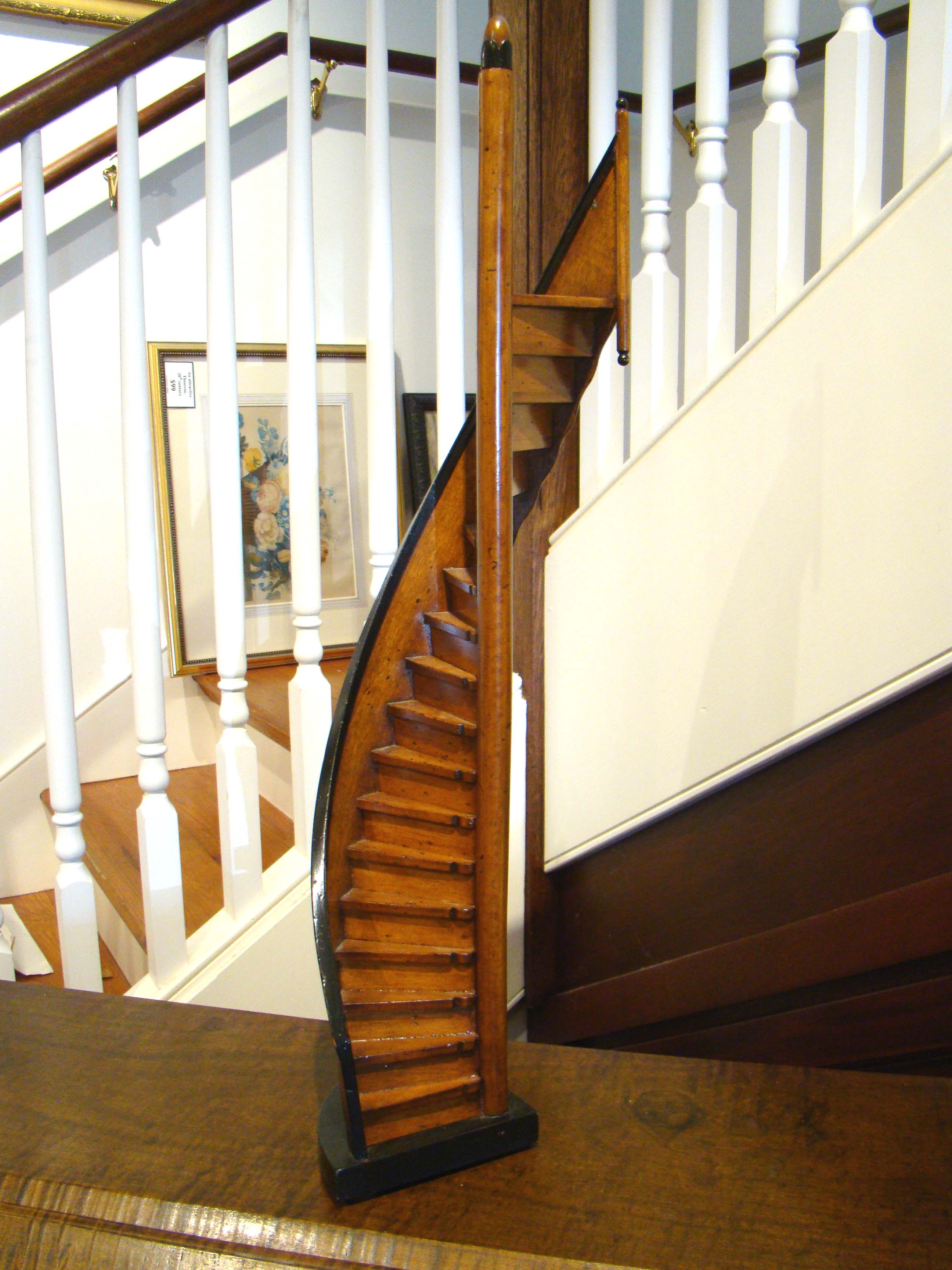 click to view detailed description of A wonderful mid-twentieth century model of a winding staircase