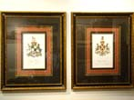 click to view detailed description of A fabulous pair of 18th century Armorial Engravings in Spectacular frames and matting