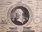 click to view detailed description of A rare 19th century     engraving entitled 'Sacred to the Memory of the Illustrious George Washington, Columbia's Great and Successful Son Honored be His Name.' Dated 1817