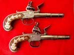click to view detailed description of Fine Pair of English Flintlock Box-Lock Pistols by Durs Egg, London, Circa 1780