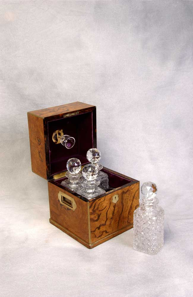 click to view detailed description of A Beautiful English Antique Brass Mounted Pollard Oak Decanter Box circa 1860 - 1880