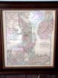 click to view detailed description of Grays Map of Boston published in 1873 with the reverse side showing a Map of Massachusetts and Rhode Island in a double glass sided custom frame.