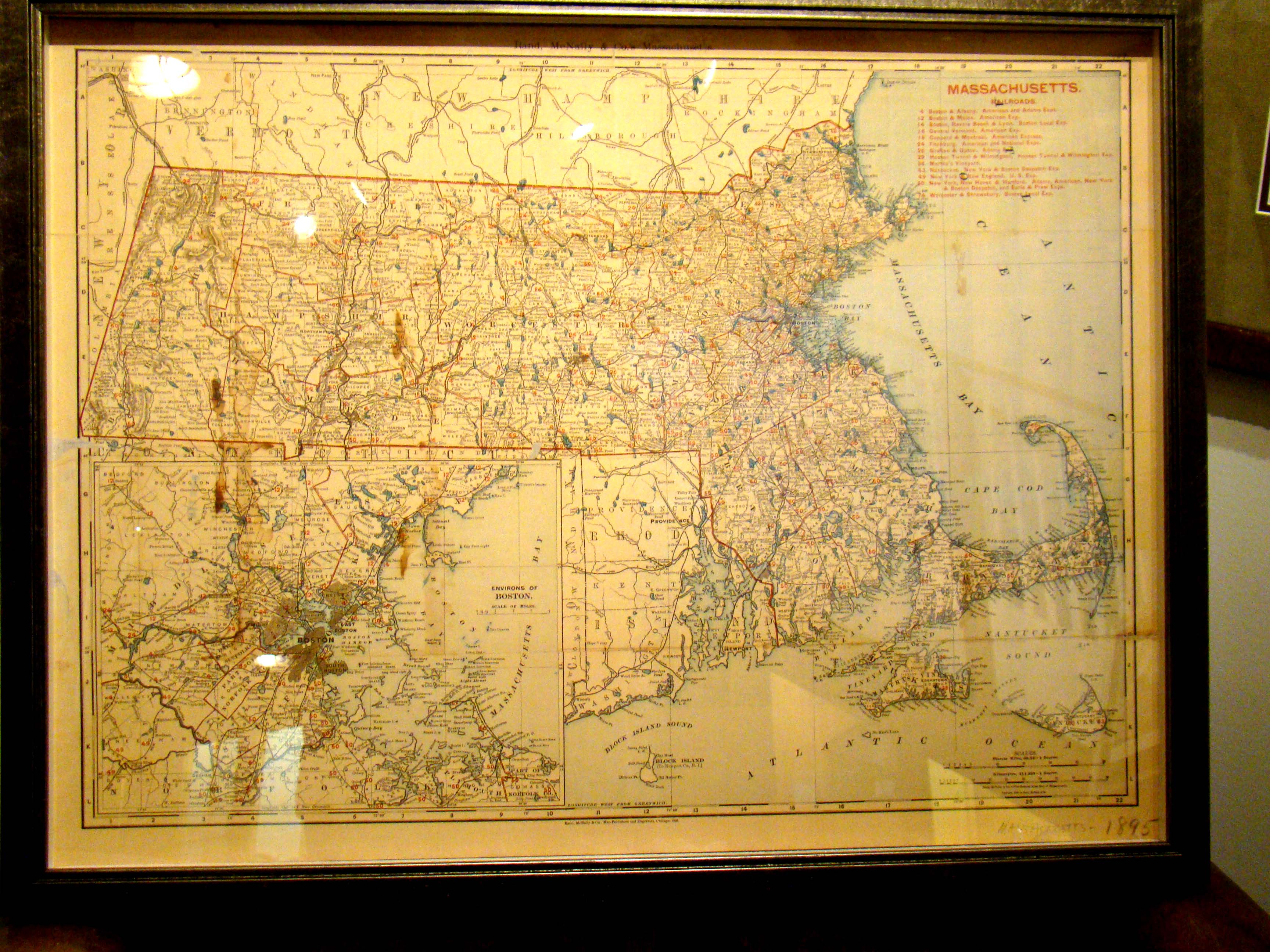 click to view detailed description of A vintage Map of Massachusetts printed in 1895 by Rand McNally