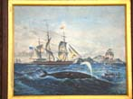 click to view detailed description of  A 19th century Oil Painting depicting a South Seas Whaling scene circa 1875