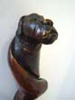 click to view detailed description of A fabulous 19th century carved walking stick with dogs head knob circa 1875