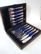click to view detailed description of A wonderful cased set of English silver plated fish knives and forks circa 1910
