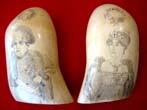 click to view detailed description of A wonderful pair of 19th century scrimshawed whales teeth depicting Napoleon and Josephine