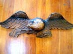 click to view detailed description of A large vintage carved mahogany American eagle plaque