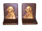 click to view detailed description of A Fine Pair of Antique Bookends circa 1925 by Bradley & Hubbard depicting George Washington