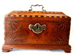 click to view detailed description of A fabulous antique English tea caddy box dated 1772