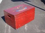 click to view detailed description of A wonderful 19th century beer bottle crate with original red paint made by